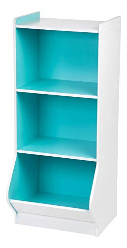 IRIS 3-Tier Storage Organizer Shelf with Footboard, White and Blue