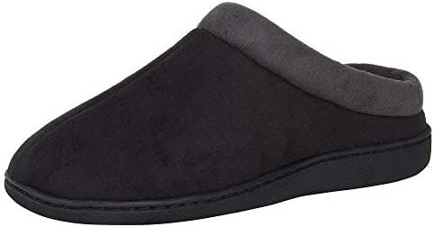 Hanes Men s Memory Foam Indoor Outdoor Microsuede Clog Slipper Shoe with Fresh IQ Black Large product image