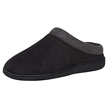 Hanes Men s Memory Foam Indoor Outdoor Microsuede Clog Slipper Shoe with Fresh IQ Black Medium