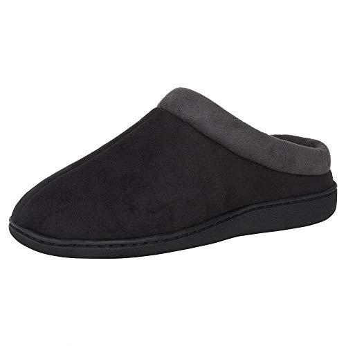 Hanes Men's Memory Foam Indoor Outdoor Microsuede Clog Slipper Shoe with Fresh IQ, Black, Large
