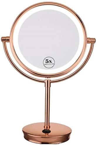 Miroir JT- Bureau de Maquillage Princesse Double Face 5X Loupe Salle de Bains Beauté Petit et Pratique