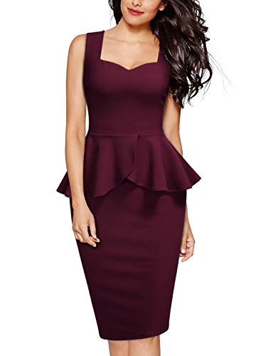 Miusol Negocios Peplum Lápiz Vestido de Fiesta para Mujer