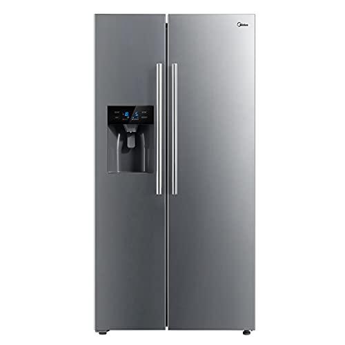 Midea MERS508FGE02 Side-by-Side Kühl-/Gefrierkombination/ 176.5 cm Höhe/ 89.7 cm breit/No Frost/Inverter Compressor/Twin Control/Wasser-/Eisspender mit Festwasseranschluss, Front Inox