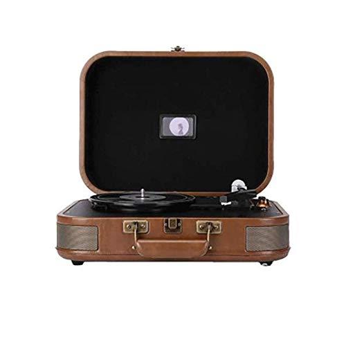 IW.HLMF Tocadiscos Tipo Maleta Vintage con Bluetooth y USB - Estilo Retro clásico de Ledermaterial