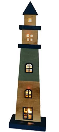 Goldbach Deko Holzleuchtturm Leuchtturm mit LED Beleuchtung • 47 cm hoch blauholzfarben flach Maritime Dekoration Maritimes