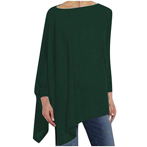 Alwayswin Damen Sexy Elegant Pullover Langarm Lose Sweatshirt Solides Unregelmäßiges Tuniken O-Ausschnitt Wild Oberteil Tops Party Wild Herbst Sweatshirts Lange Hülsen T-Shirt