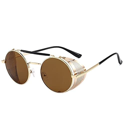FACHA Gafas de sol unisex estilo retro de metal redondo Steampunk anti-UV, espejo de Hip Hop accesorios para fiesta (color : D, tamaño: M)