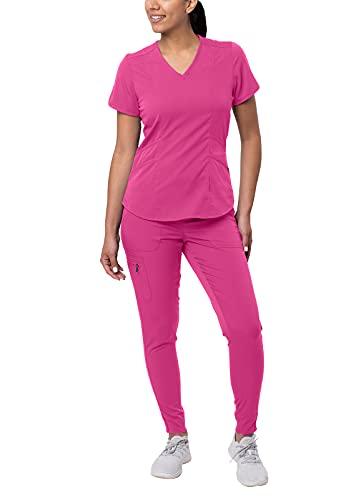 Adar Pro Modern Athletic Scrub Set for Women - Modern V-Neck Scrub Top & Yoga Jogger Scrub Pants - P9500 - Fruit Punch - S