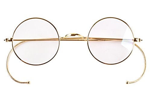 Agstum Retro Small Round Optical Rare Wire Rim Eyeglasses Frame (Gold, 39mm)