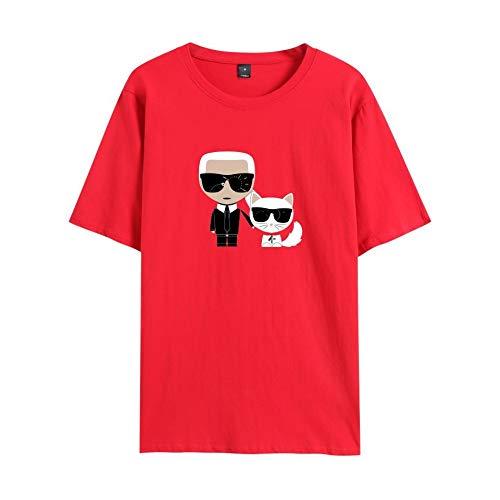 INSTO T-Shirt Karl Lagerfeld Gedruckt T Unterhemd Sportbekleidung Fitness Tragen Unisex Einfach Beiläufig/rot / 3XL