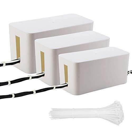 3 Pack Kabelbox(Weiß) für Schreibtisch, Fernseher, Computer, USB-Hub (Power Strips und Kabel) und für die Abdeckung - 50 Stück Nylon Kabelbinder GRATIS
