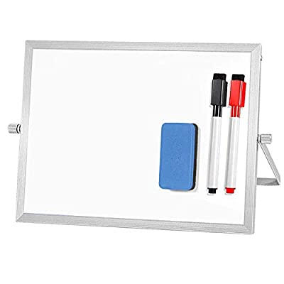 ARCOBIS Small Dry Erase White Board for Desk Magnetic Double Sided Personal Desktop Tabletop Dry Erase Board Easel Board with Stand for Kids Home Office