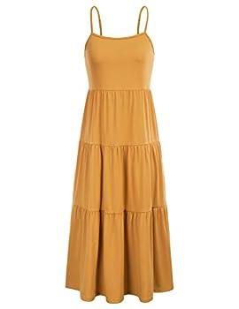 GRACE KARIN Women s Spaghetti Strap Dress Flowy Swing Pleated Skater Dress Mustard L