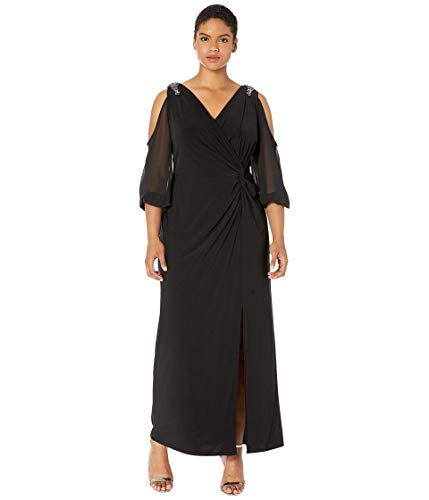 Alex Evenings Women's Plus-Size Cold Shoulder Popover Dress, Illusion Black, 18W