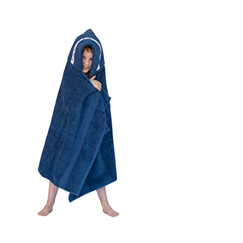 Hooded Owls large hooded towel for children, 1-8yrs, navy with Dinosaurs trim