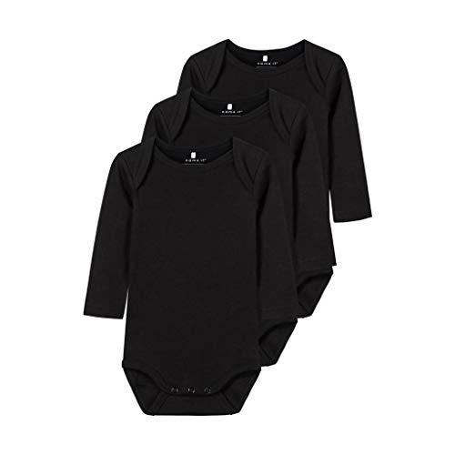 NAME IT Nbnbody 3p LS Solid Noos Polaina, Negro (Schwarz Black), 80 (Pack de 3) para Bebés