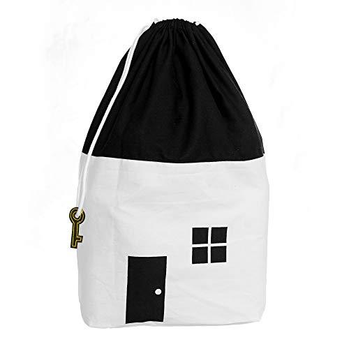 EMEF-EMPIRE - Kinder Aufräumsack, Spielzeugsack, Spielzeugtasche, Wäschesack, Wäschebeutel, Aufbewahrung von Decken, Kissen, Wäsche etc. - Weiß/Schwarz