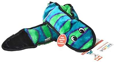 Outward Hound Invincibles Snake Stuffingless Plush Dog Toy, 3 Squeakers, Orange/Blue