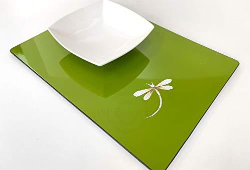 2 Luxe laquée faite à la main en bois Sets de table, fine de qualité de sets de table Dinerware, Lot de 2, laqué Vert, Pd001