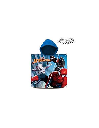 Spiderman Poncho algodón Referencia KD Playa lavarse la Cara-Toallas Textiles del hogar Unisex Adulto, Compuesto, Multicolor (Multicolor), única
