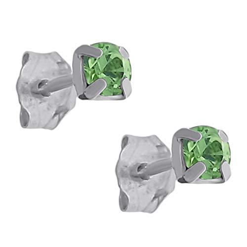 Pendientes de plata 925 y cristal verde de 3 mm
