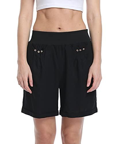 Dilgul Bermudas de verano para mujer, pantalones cortos informales, de lino, cintura elástica, con bolsillos Negro-1. 44