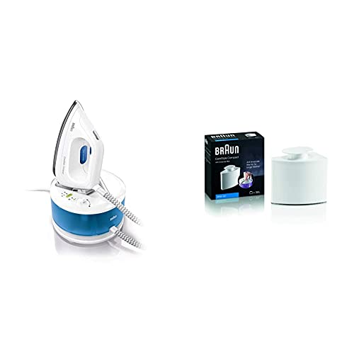 Braun - Centro De Planchado, Suela 3D Eloxal Plus, Potencia 2200 W, Blanco/Azul + Filtro antical Apto para Centro de...