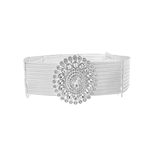 LCKJ Cinturones de mujer Aleación de oro de lujo de la cadena de cintura ancha Marrocon Caftan Cinturón de la joyería de la boda de las mujeres de la longitud ajustable de la cadena de la cintura del