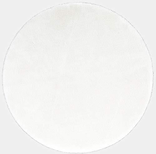 andiamo Sitzkissen Kunstfell Fellimitat waschbare Stuhlauflage Weiß 40 cm rund
