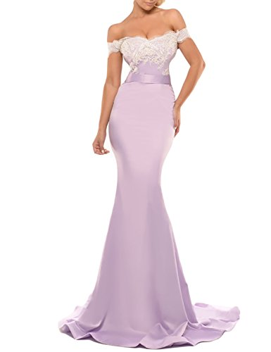 Womens Mermaid Formal Off Shoulder Mermaid Prom Evening Dresses Long Celebrity Gown 2019 Lilac 4