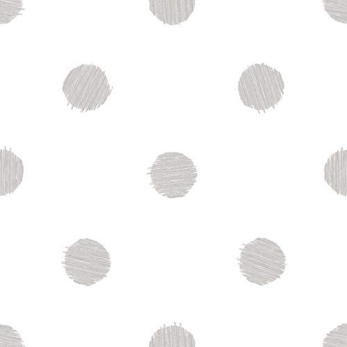 Carta da parati a pois di colore grigio su fondo bianco Friends & Coffee 5679