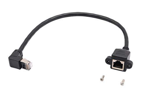 zdyCGTime Cable de extensión de Red LAN RJ45 CAT6, ángulo de 90 Grados, RJ45 A Macho a A Hembra, Cable de extensión de Montaje de Panel de Tornillo.(hacia Arriba),Negro Upward