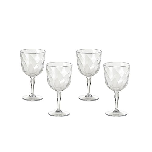 Omada Design Set de 4 copas de vino de plástico, 27.5 cl, Made in Italy, apto para lavavajillas, Diamond Line