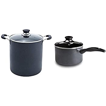 T-fal B36262 Specialty Total Nonstick Dishwasher Safe Oven Safe Stockpot Cookware 12-Quart Black & Specialty 3 Quart Handy Pot w/ Glass Lid