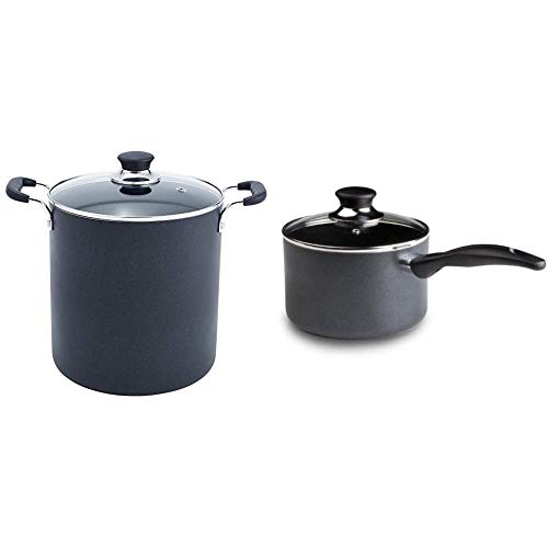 T-fal B36262 Specialty Total Nonstick Dishwasher Safe Oven Safe Stockpot Cookware, 12-Quart, Black & Specialty 3 Quart Handy Pot w/ Glass Lid