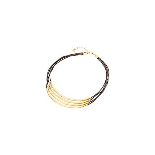Collar Uno de 50 Double Balance COL1605OROMAR0U - collar de cuero marrón con metal bañado en oro.