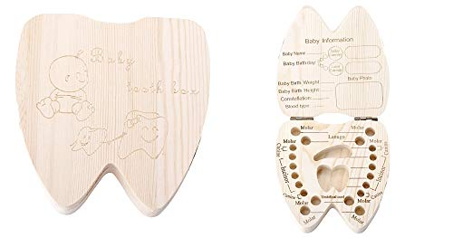 Houder van melktanden - jongen - meisje - houten kist - engels schrift - tandvorm - origineel idee voor een verjaardagscadeau voor kerstmis