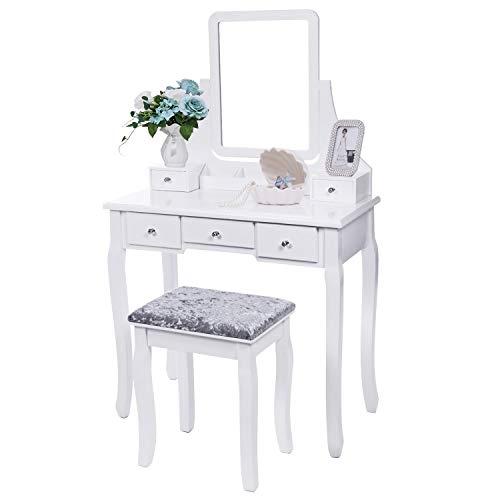 LLFFDC witte dressoir tafel met spiegel en kruk, 5 lades verstelbare wastafel tafel set slaapkamer make-up dressoir