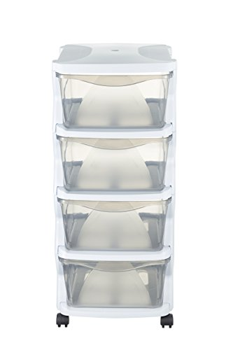 Bama 99003 Cassettiera con Ruote, Bianco, 36 x 40 x 80 cm