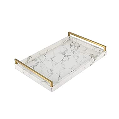 WV Decorative Tray Faux Leather Faux Marble Finish with Brushed Ti-Gold Stainless Steel Handle (White)