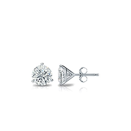 1/3 Carat Simulated Cubic Zirconia Diamond Stud Earrings in 14k White Gold Round (Excellent Quality) 3-Prong Martini, Push-Back by Diamond Wish