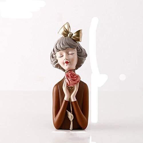 WQQLQX Statue Bogen mädchen skulptur vase Dekoration Hause Einrichtung Wohnzimmer Kaffee tischeingang getrocknete Blume Statue Handwerk Figuren Skulpturen (Color : A)
