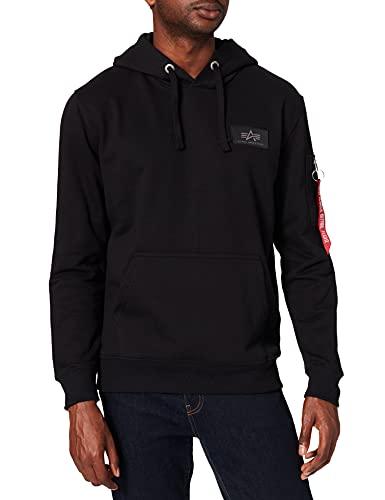 ALPHA INDUSTRIES Herren Back Print Hoody Sweatshirt, Negro, L