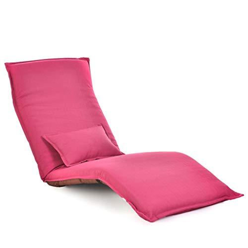 LJM- Floor Faule Couch, Faltlaken Mit Kissen Schlafzimmer Balkonzimmer Liege Einzel (Farbe : Pink)