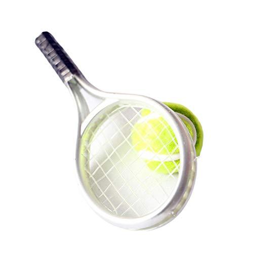 Washranp Juguete de casa de muñecas, simulación, mini artículos deportivos, raqueta de tenis, juego de modelo de pelota de casa de muñecas decoración accesorios de casa de muñecas plata
