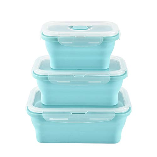URBEST Collapsible Bowls Silicone Food Storage Containers with Lids for Camping Set of 3 Rectangular Silicone Lunch Containers Microwave and Freezer Safe Blue 3