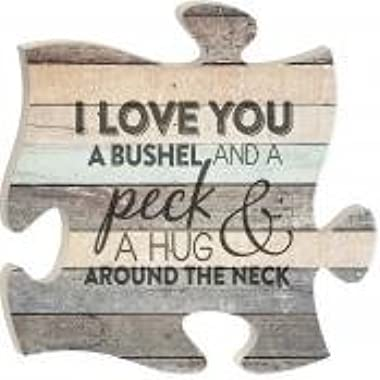 I Love You a Bushel and a Peck Wood Look 12 x 12 inch Wood Puzzle Piece Wall Sign Plaque