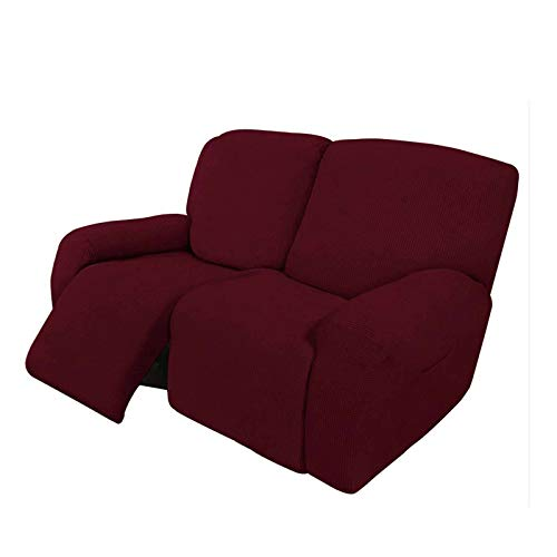 HUANXA 2 3 Seater Recliner Stretch Sofa Slipcover Reclining Sofa Cover Non-slip Spandex Furniture Protector Couch Covers With Elastic Bottom-Wine red-Loveseat (6 PCS)