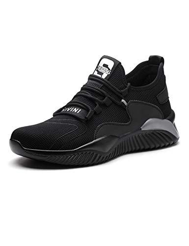 Letuwj Zapatos de trabajo unisex de seguridad para construcción industrial a prueba de pinchazos, antideslizantes, transpirables, antideslizantes, de acero, color Negro, talla 39 EU