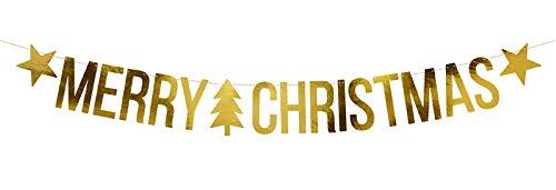 Goldener Banner 'Merry Christmas' Partykette Frohe Weihnachten Weihnachtsdeko Weihnachtsdekoration Girlande Länge 150cm Gold